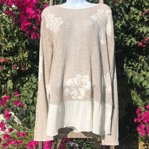 Style & Co Ruffle Beige Sweater w/Flower Detail.